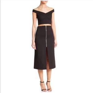 NICHOLAS Zip Front Ponte Skirt